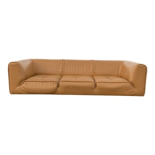 Italian Gamma Tan Leather Oversized Sofa For Sale