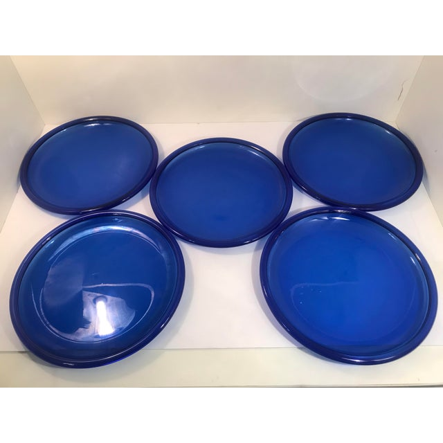 Vintage Crystal D' Arques Cobalt Blue Glass Plates - Set of 5 For Sale In Sacramento - Image 6 of 6