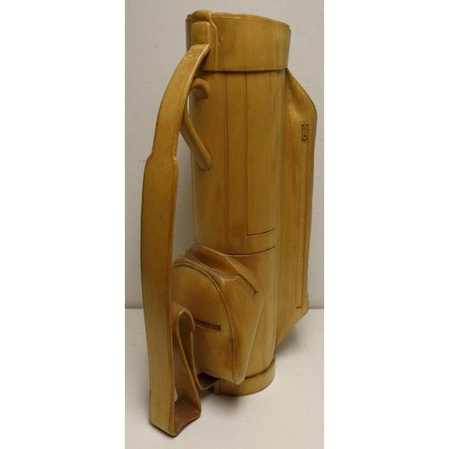 Mid-Century Modern Vintage Carved Wood Decorative Golf Bag For Sale - Image 3 of 11