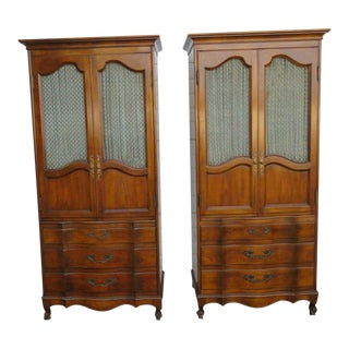 1960s French Cherry Hand Carved Armoires Wardrobes by John Widdicomb - a Pair For Sale