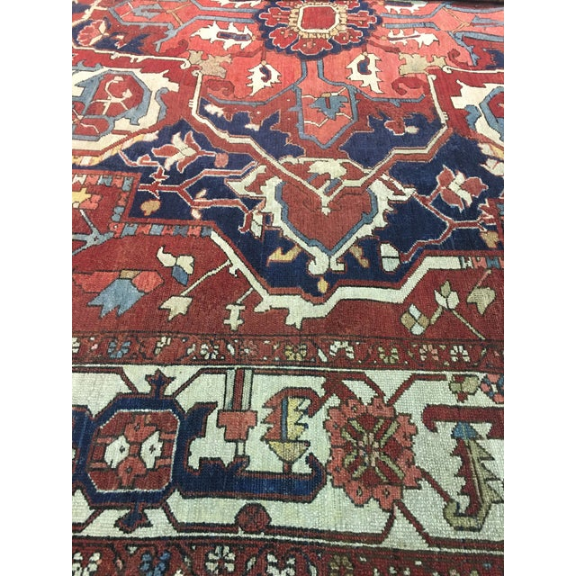 "Late 19th Century Pasargad NY Antique Persian Serapi Rug - 9'8"" x 13'4"" For Sale - Image 5 of 8"