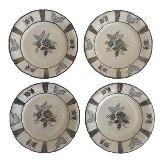 Bavarian Porcelain Butterfly Dessert Plates - Set of 4
