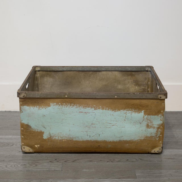 Industrial Large Vulcanized Canvas Factory Bin C.1948 For Sale - Image 3 of 8