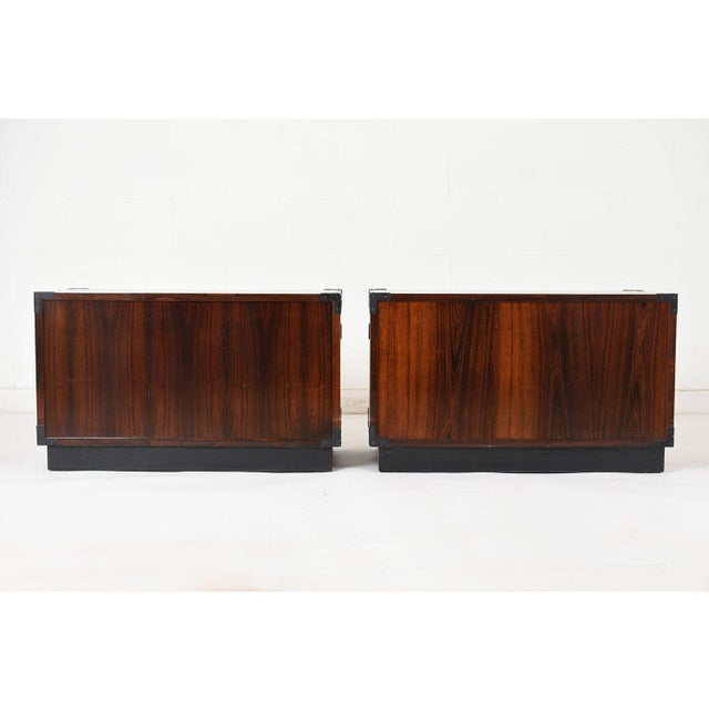 Lacquer Pair of Campaign-Style Rosewood Chest of Drawers For Sale - Image 7 of 9