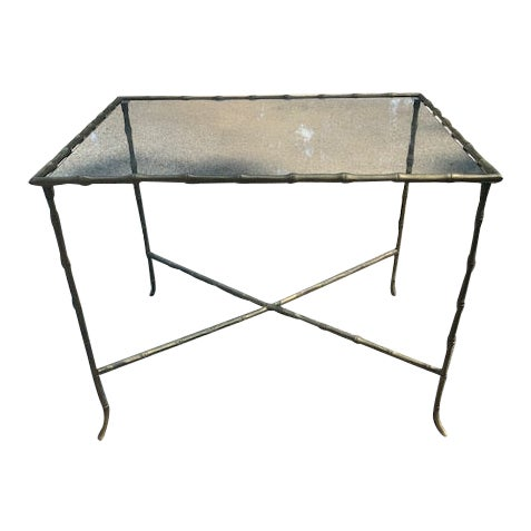 Hollywood Regency Brass Faux-Bamboo Side Table For Sale