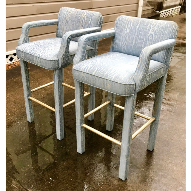 Brass Vintage Parsons Bar Stools - a Pair For Sale - Image 7 of 8