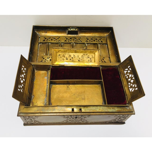 Metal Antique Anglo Indian Georgian Brass Desk Box For Sale - Image 7 of 12