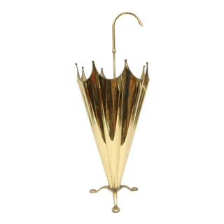 Vintage Brass Umbrella Stand For Sale