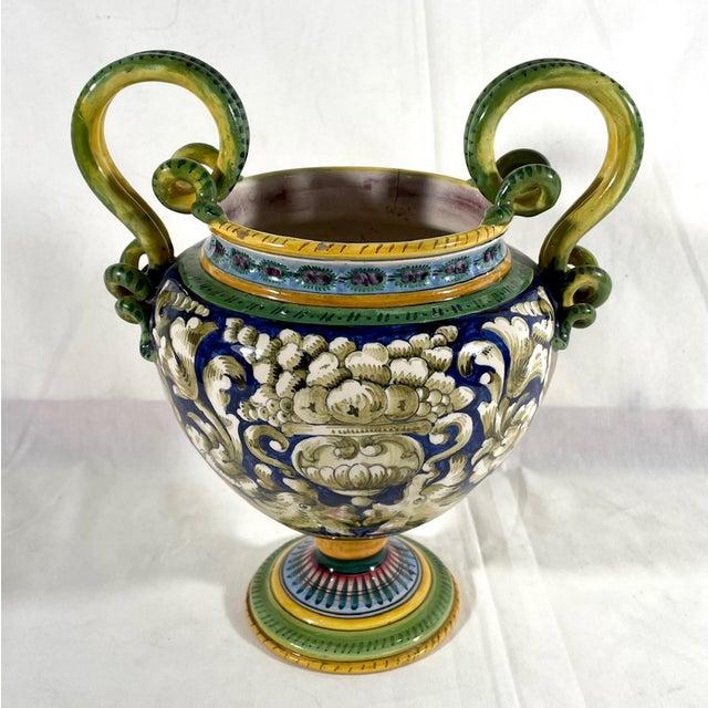 Ceramic Vintage Italian Majolica Two-Handled Urn For Sale - Image 7 of 12