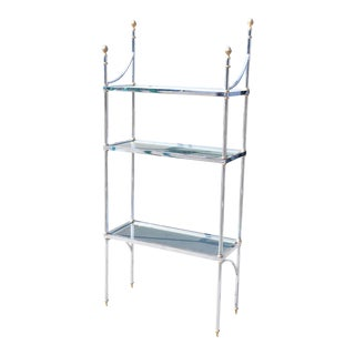 Maison Jansen Style Brass & Steel Etagere Bookshelf Display For Sale