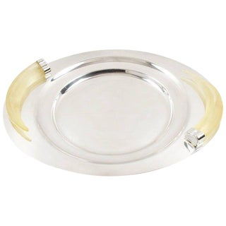 Modernist Silver Plate and Lucite Horn Large Platter Serving Tray by Prata Wolff For Sale