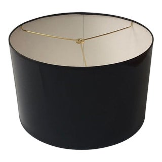 Modern High Gloss Black Drum Lampshade For Sale