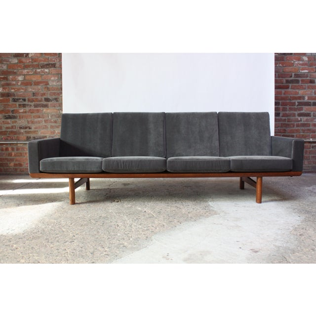 Hans Wegner for GETAMA Sofa in Oak and Velvet - Image 5 of 12