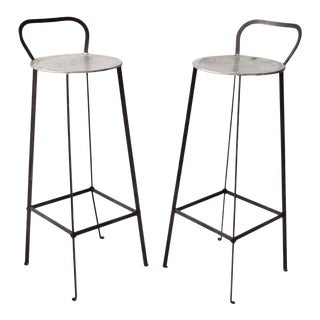 Mid-Century Metal Stools - a Pair For Sale