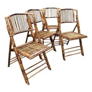 1980s Tortoise Bamboo Folding Chairs - Set of 4 For Sale