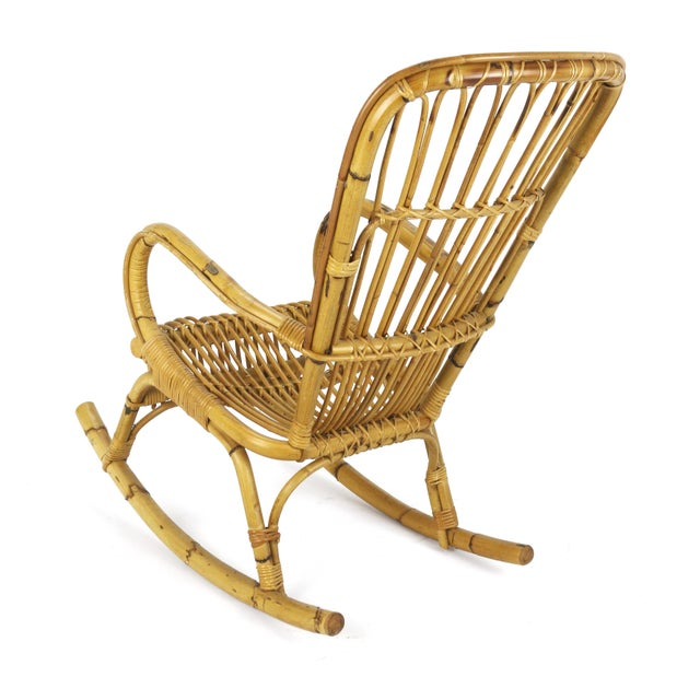 1950s Franco Albini Style Rattan Bamboo Rocking Chair - Image 4 of 5