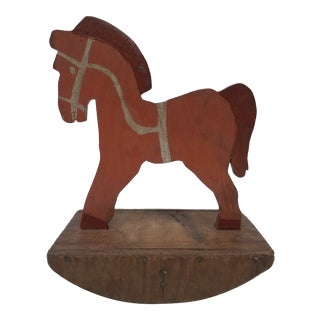 Antique English Wooden Toy Rocking Horse - Handmade For Sale