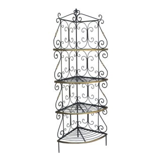 Amazing French Iron and Brass Bakers Corner Shelf For Sale