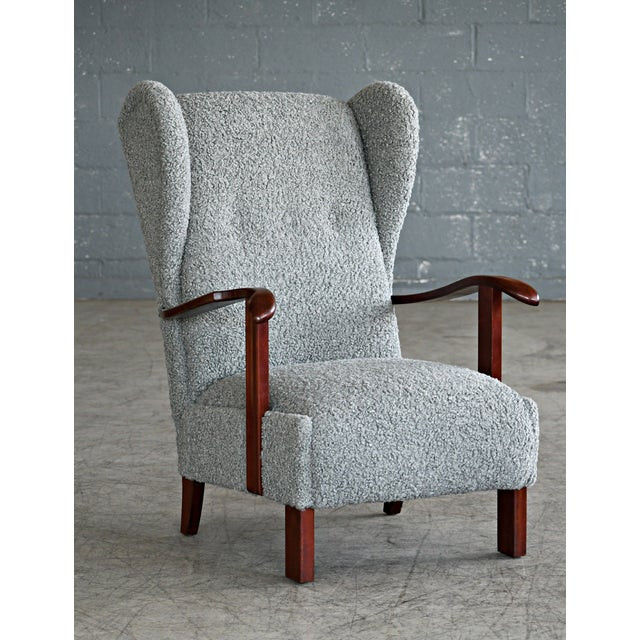 Fritz Hansen Model 1582 Wingback Lounge Chair in Grey Boucle Danish Midcentury For Sale - Image 13 of 13
