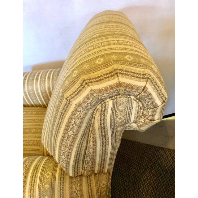 Pair of Hollywood Regency Style Custom Overstuffed Arm/Lounge Chairs Fine Fabric For Sale - Image 4 of 10