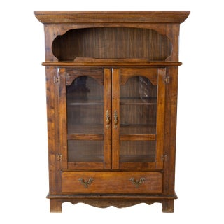 Vintage Wood China Cabinet For Sale