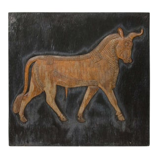 Exceptional Hand Carved Artwork Panel From the Estate of Charles Lamb For Sale