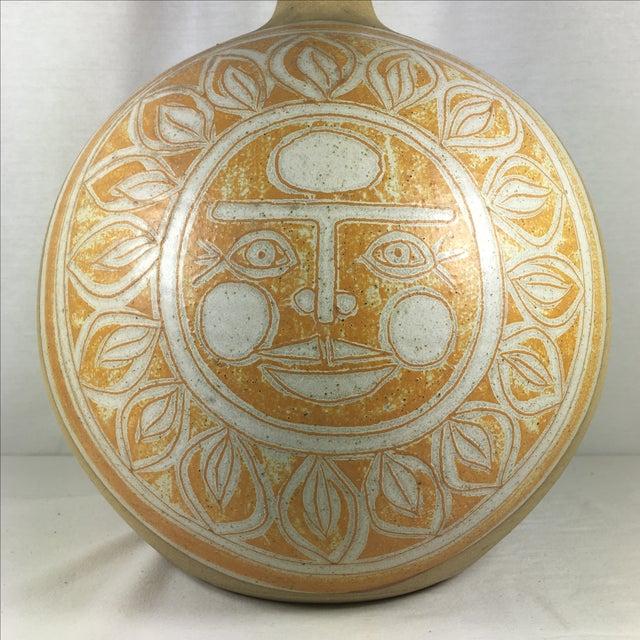 Vintage Incised Ceramic Art Pottery Lamp - Image 4 of 9