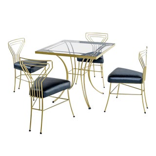 Salterini Style Art Deco / Modern Gold Painted Gilt Metal Glass Top Dinette Set For Sale