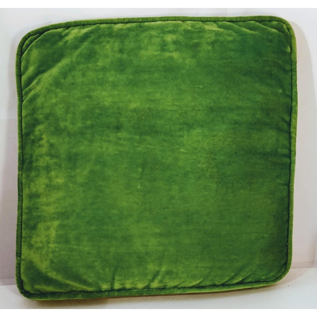 Mid 20th Century Vintage Cheetah Cat Velvet Green Chinoiserie Needlepoint Pillow For Sale - Image 5 of 11