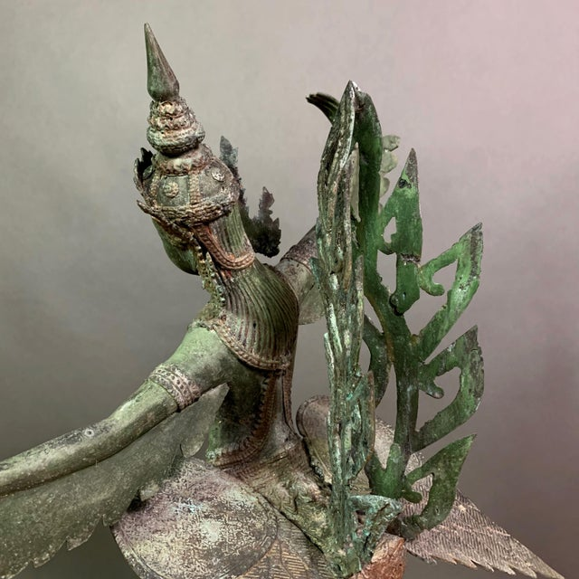 """Early 1900s Mythologic Kinnaris 30"""" Bronze Statue, Thailand For Sale - Image 4 of 12"""