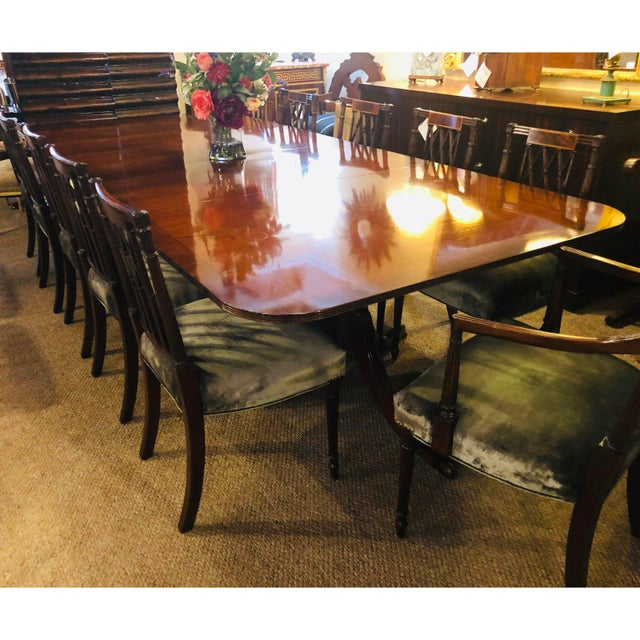 Set of Twelve Sheridan Style Dining Chairs With New Upholstery For Sale - Image 12 of 13