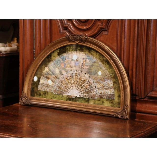 French 18th Century French Painted Paper and Mother of Pearl Fan in Gilt Glass Frame For Sale - Image 3 of 8