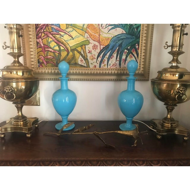 Sky Blue 19th Century French Blue Opaline Large Decanters W/ Stoppers - a Pair For Sale - Image 8 of 13