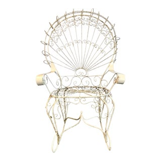 Vintage Mid Century Salterini White Wrought Iron Rocking Chair For Sale