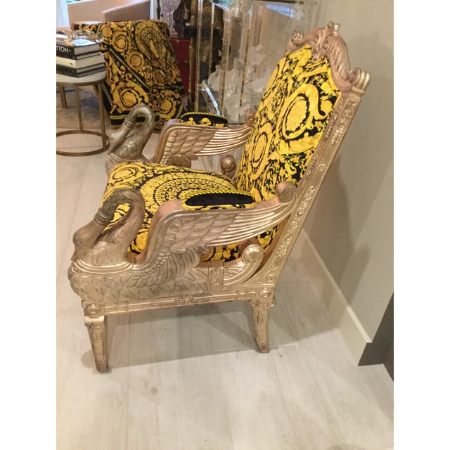Large vintage gilded wood heavy swan chair silver gold one of kind with Gianni Versace Upholstery in gold black vivid in...