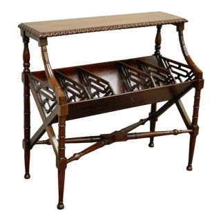 English Chinese Chippendale Style Faux Bamboo Bookcase Magazine Whatnot Stand For Sale