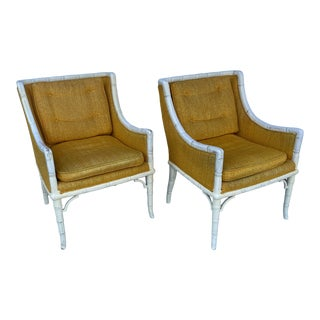 Faux Bamboo Arms Chairs a Pair For Sale
