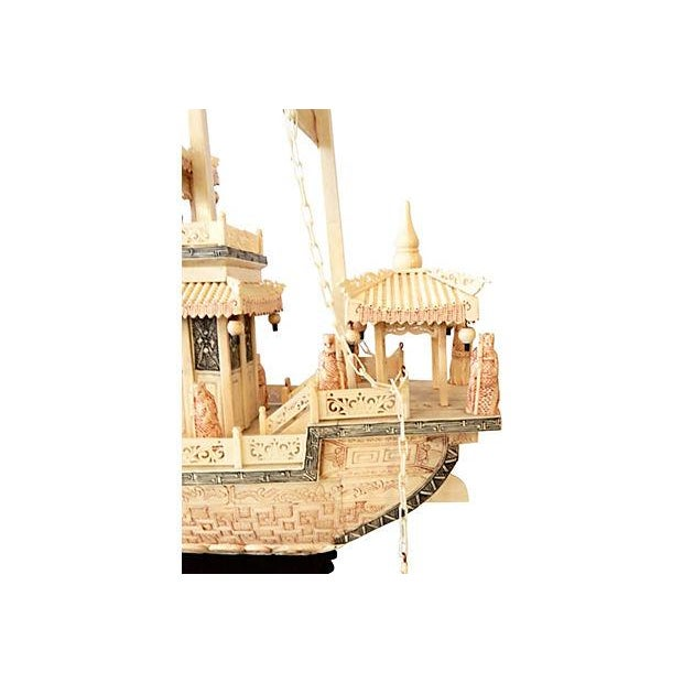Chinese Carved Bone Boat on Stand - Image 6 of 7
