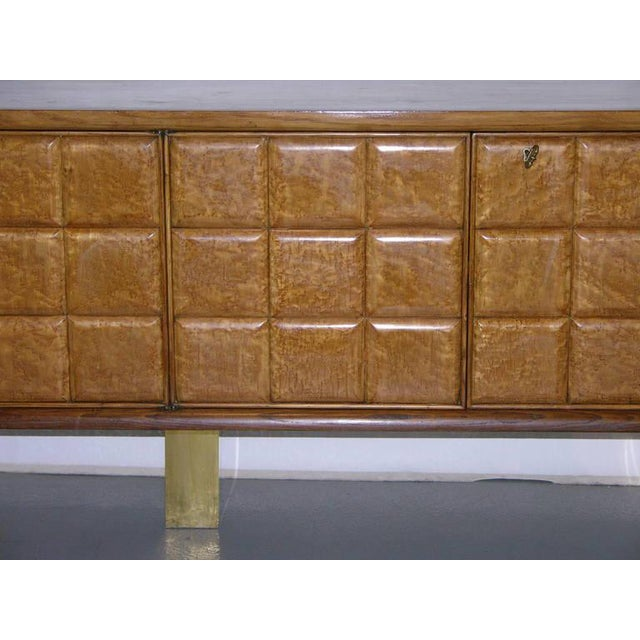 Art Deco 1940s Minimalist Dark & Light Wood Cabinet Sideboard on Brass Legs For Sale - Image 3 of 12