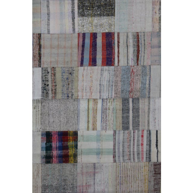 "Hand Knotted Patchwork Rug by Aara Rugs Inc. - 7'9"" X 5'6"" - Image 2 of 3"