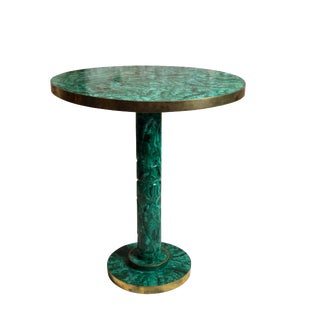 Mid 20th Century Vintage Brass Mounted Russian Malachite Side Table For Sale
