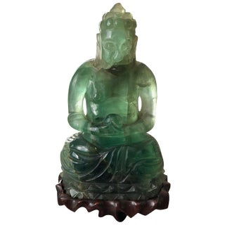 Chinese Green Mineral Fluorite Buddha With Rosewood Stand For Sale