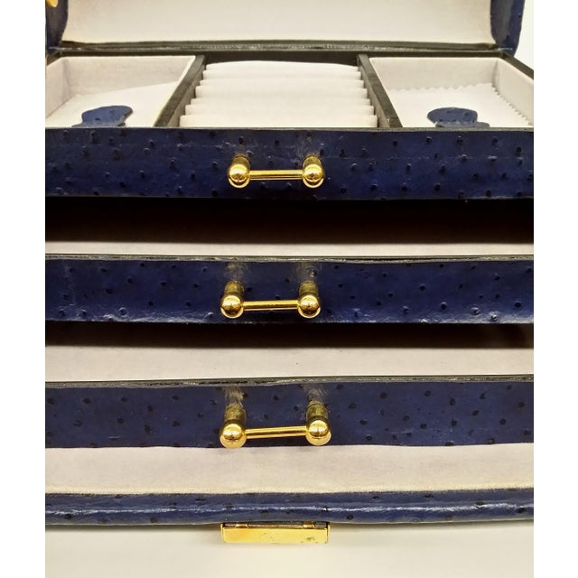 Vintage Ostrich Leather Jewelry Travel Case - Image 4 of 10
