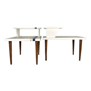White Mid-Century Modern Side Tables - A Pair