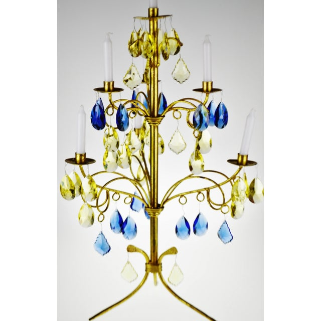 Italian Vintage Italian Tole Gold Gilt Candelabra With Multi - Colored Cut Glass Prisms For Sale - Image 3 of 13