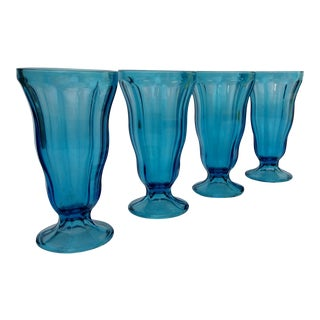 Vintage Hazel Atlas Aqua Soda Fountain Sundae Glasses -Set of 4 For Sale