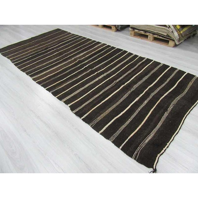Vintage Natural Stripe Turkish Kilim - 5′6″ × 12′6″ For Sale - Image 5 of 6