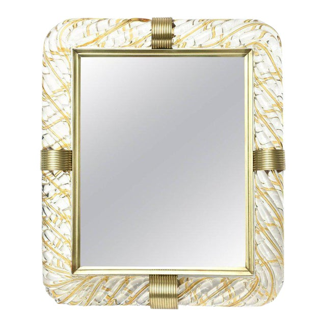 Italian Murano Vintage Glass and Brass Picture Frame For Sale