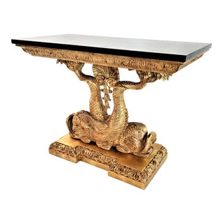 1970s Hollywood Regency Guilded Undine Koi Fish Console Table For Sale