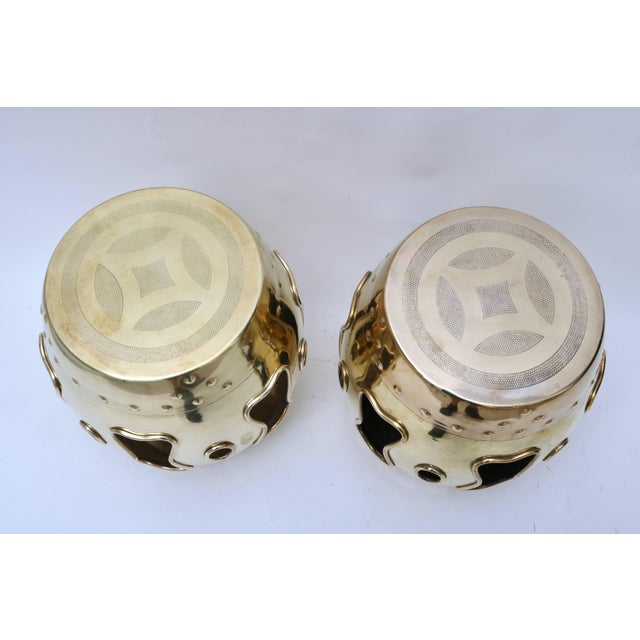 Chinese Mid-Century Brass Garden Stools - a Pair For Sale In West Palm - Image 6 of 8